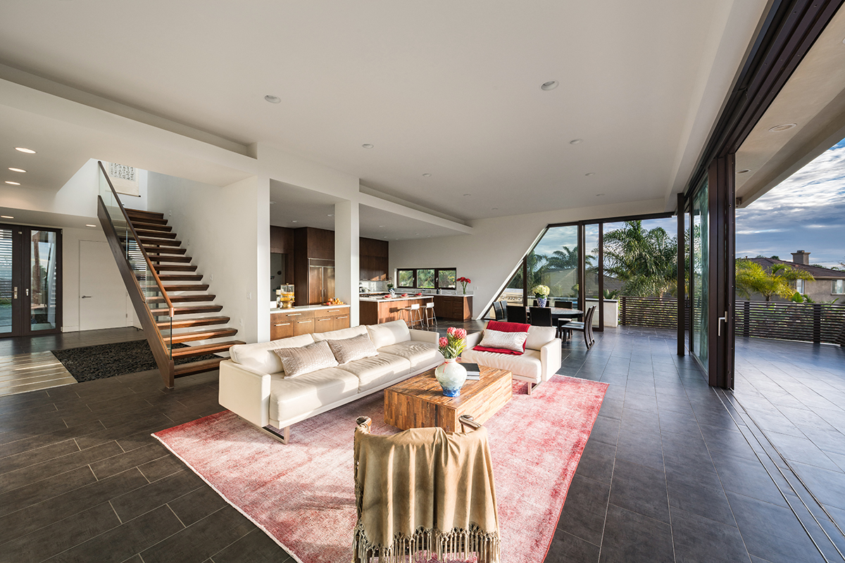 Family room from Best of Houzz award winning architects, Foxlin Architects, New Construction in Carlsbad California