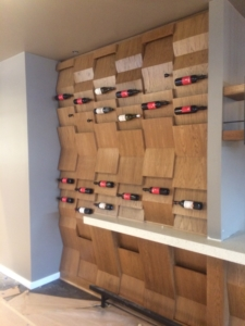Check out the wine wall at Two Left Forks, Irvine California, Foxlin Architects