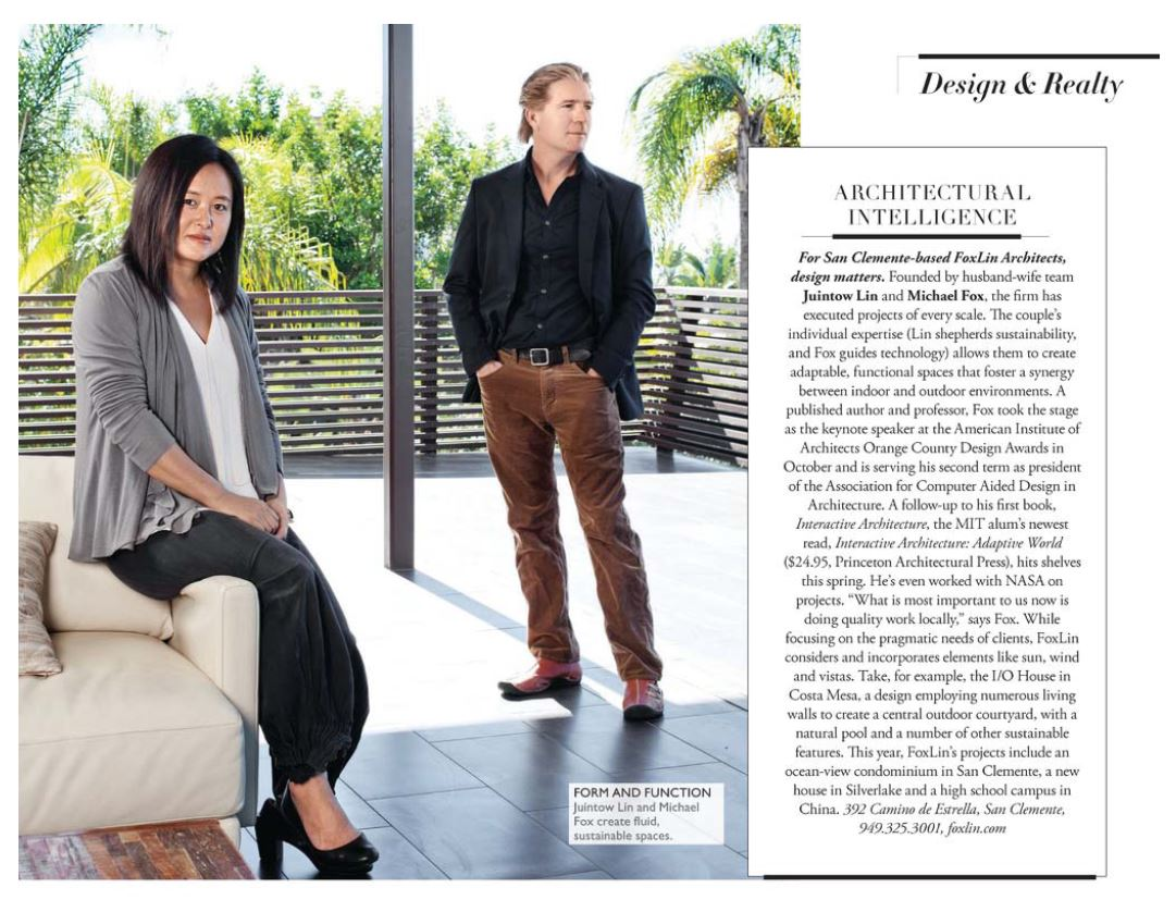 FoxLin Architects featured in Press with OC Modern Luxury Magazine 2016-01-05