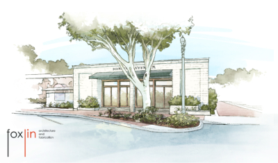 Historic Old Tustin Morning Lavender Rendering of retail front, Foxlin Architects