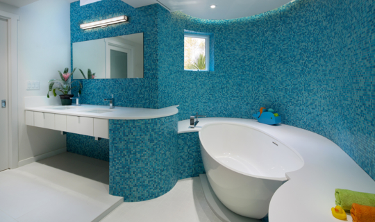 Blue tiles kids bathroom with white bath tub and sink, Orange County best architects, Foxlin Architects, architects in southern california
