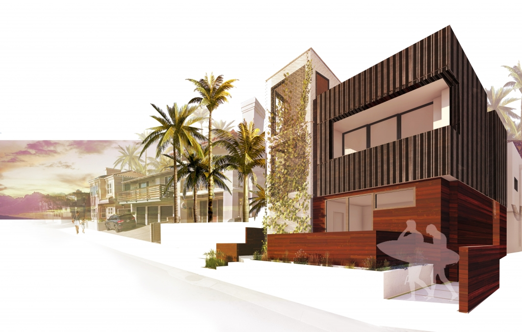 FoxLin Architects of Orange County - Balboa Duplex in Newport Beach, California - New Construction - Rendering